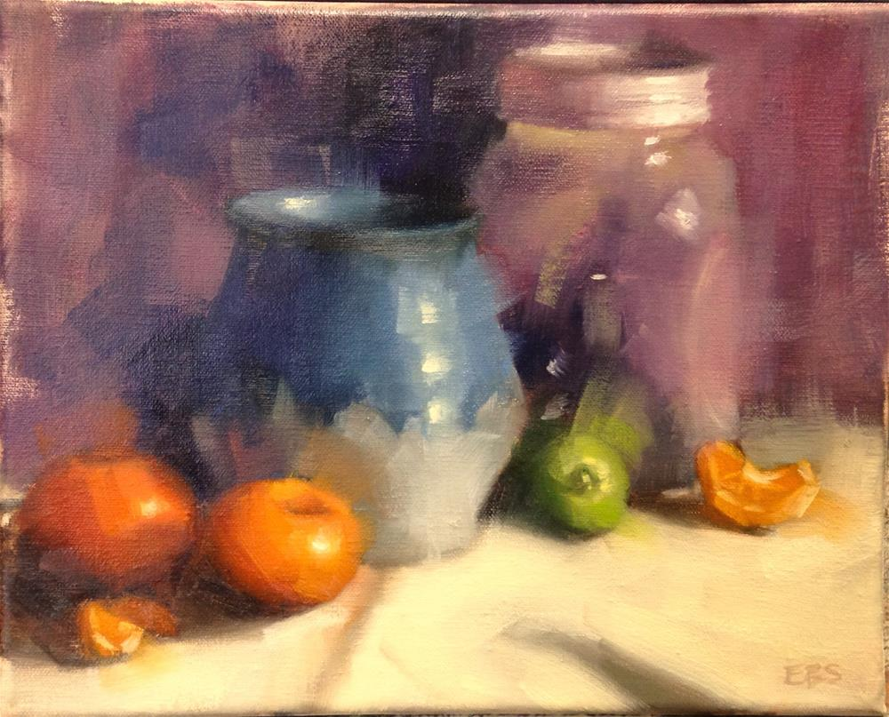 """Oranges and Blue Pottery"" original fine art by Emilie Saunders"