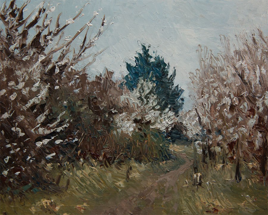 """Greengage Blossom"" original fine art by Jethro Knight"