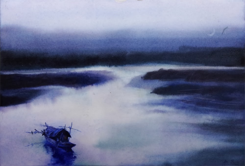 """Fisherman's Evening II"" original fine art by Arena Shawn"
