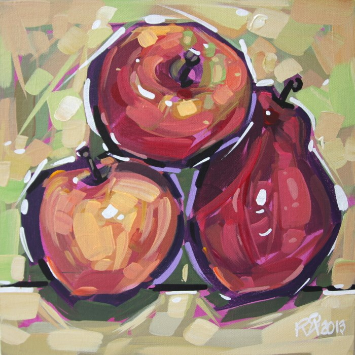 """Apples and Pears 9"" original fine art by Roger Akesson"