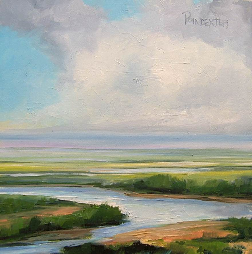"""Salt Marsh in Delaware small oil painting"" original fine art by Dianna Poindexter"