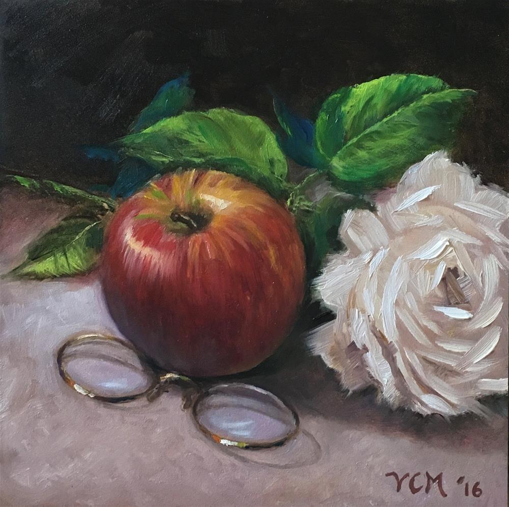 """""""An Apple, a Rose, and the Pince Nez"""" original fine art by Vana Meyers"""