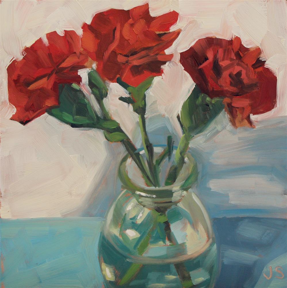 """3 Red Carnations"" original fine art by Jamie Stevens"