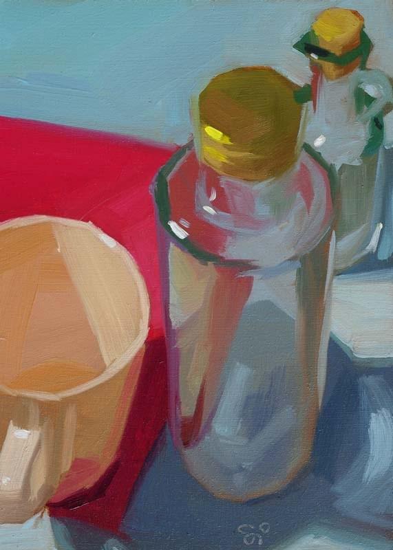 """Two bottles and a cup"" original fine art by Istvan Schaller"