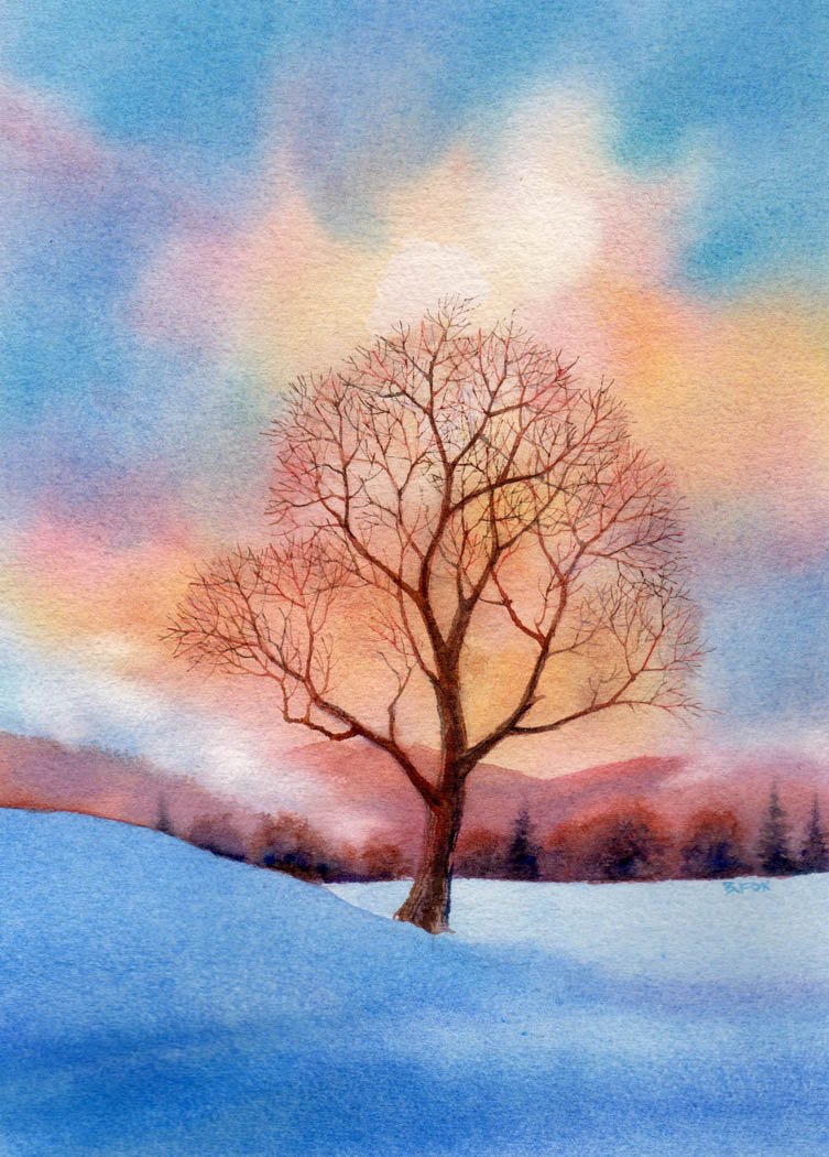 """SOLITARY watercolor landscape painting"" original fine art by Barbara Fox"
