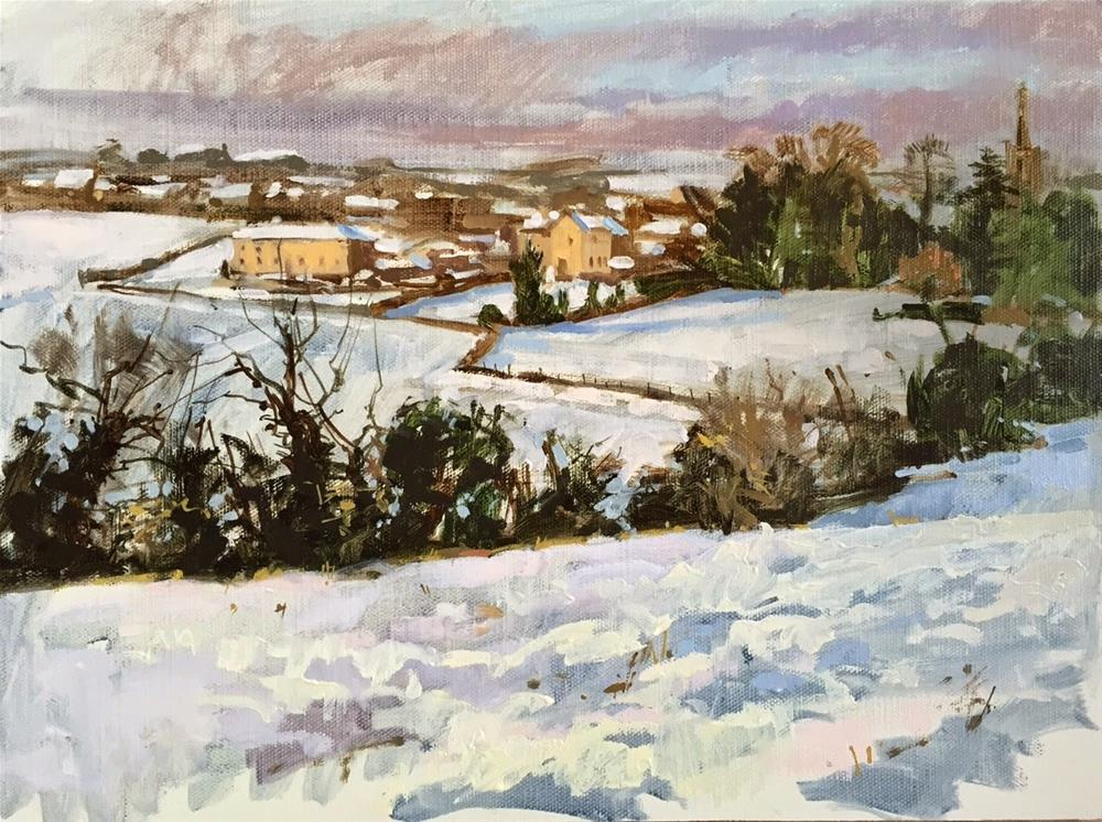 """A holiday snow day!"" original fine art by Haidee-Jo Summers ROI"