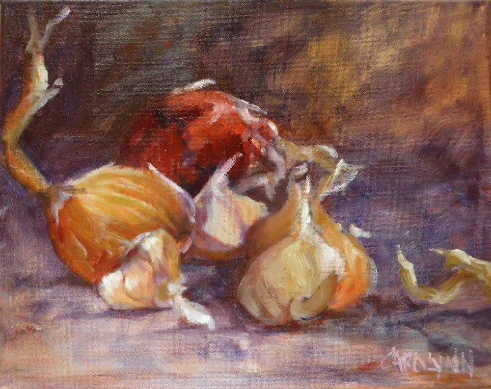 """Garlic and Onion Tails"" original fine art by Carolynn Doan"
