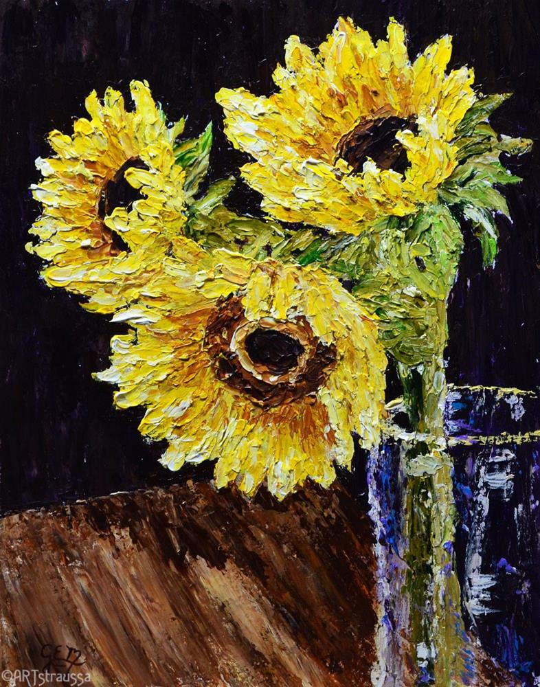 """Sunflower Trio"" original fine art by Gloria Ester"