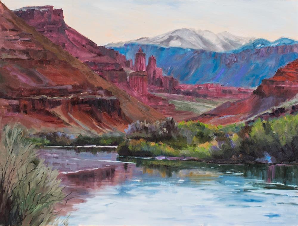 """KM2980 Twilight's Magic by Colorado Artist Kit Hevron Mahoney (30x40, oil, landscape, Moab, Southern"" original fine art by Kit Hevron Mahoney"