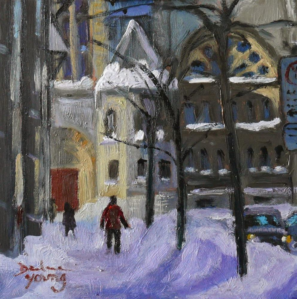 """807 Montreal Winter, Crescent Street, 6x6, oil"" original fine art by Darlene Young"