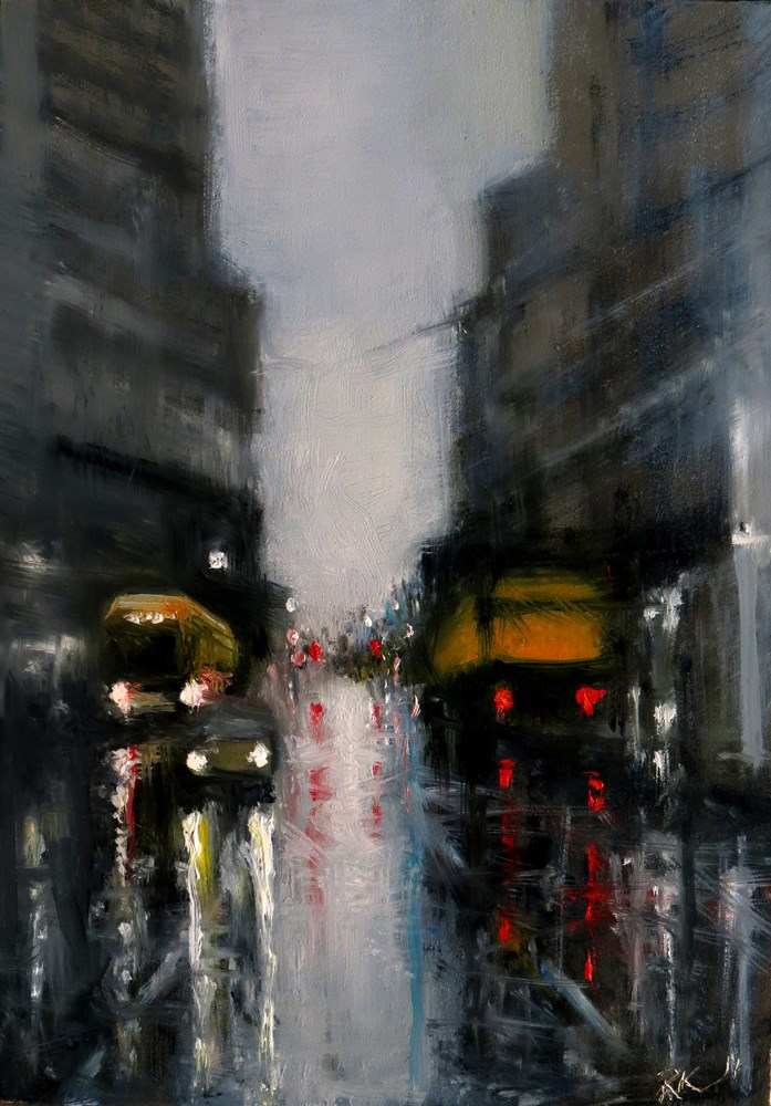 """Rainy Downtown Street"" original fine art by Bob Kimball"