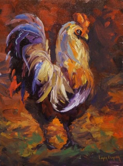 """Rooster Days"" original fine art by Linda Dunbar"