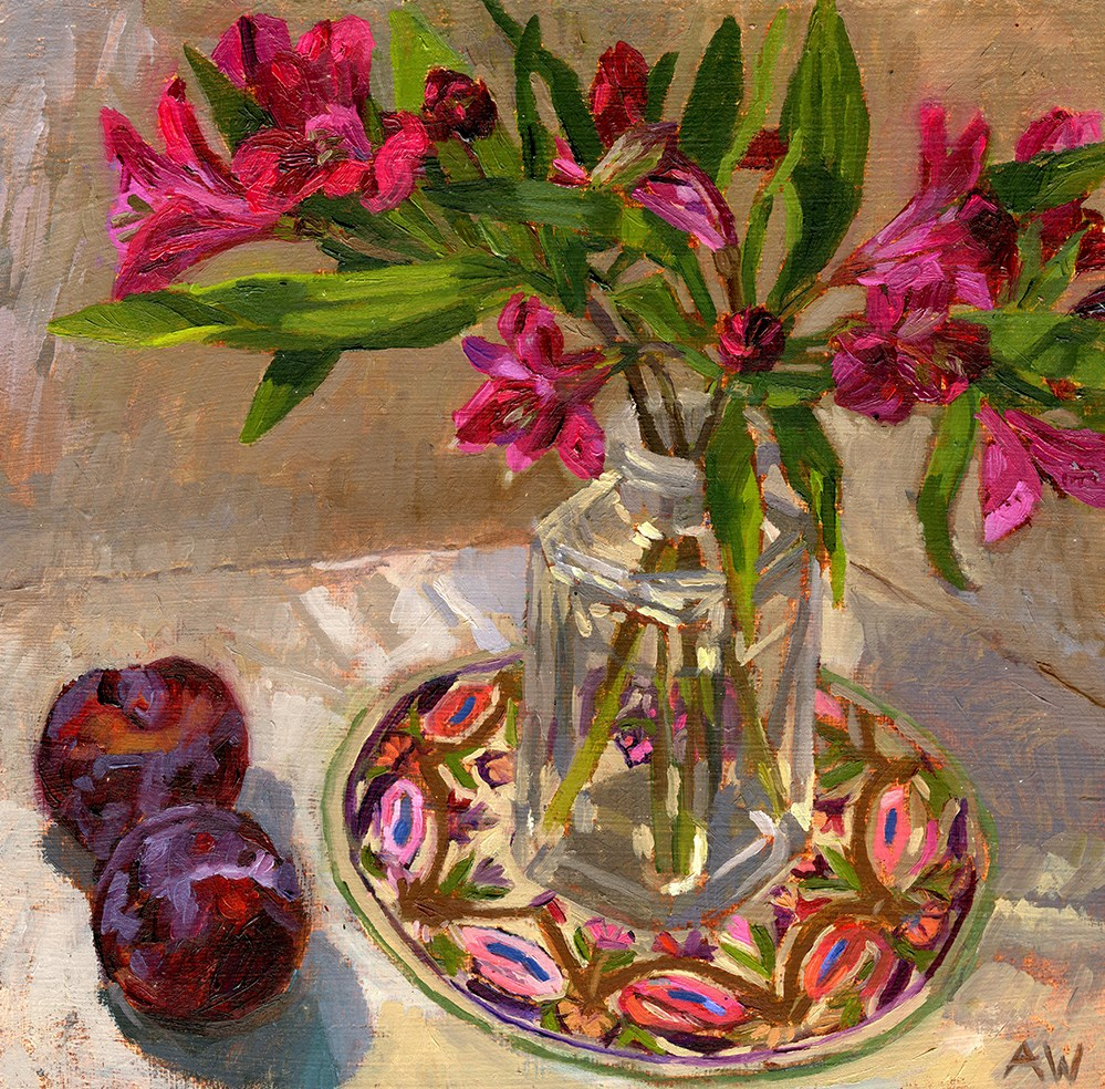 """Lilys and Plums"" original fine art by Angie Wood"
