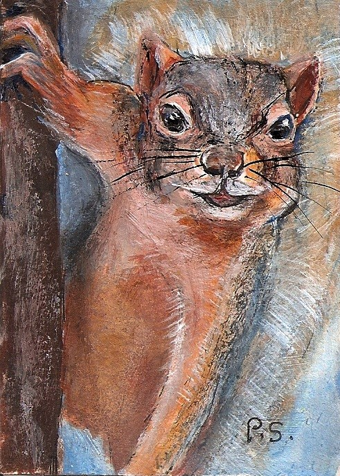 """ACEO Cheeky Squirrel Critter with Defiant Attitude by Penny Lee StewArt"" original fine art by Penny Lee StewArt"