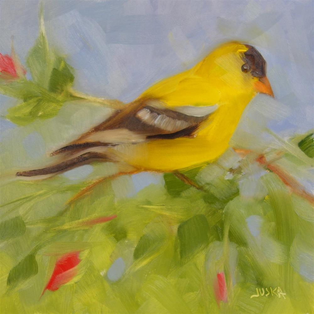 """Gold Finch in Rose Bush"" original fine art by Elaine Juska Joseph"