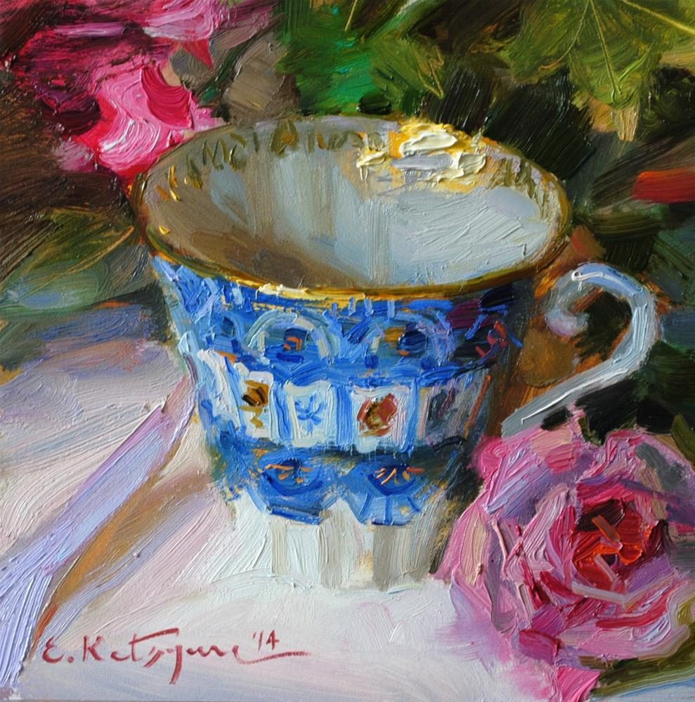 """Blue and Pink"" original fine art by Elena Katsyura"
