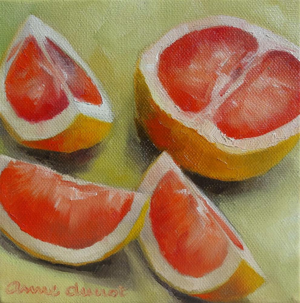 """Sliced Ruby Grapefruit"" original fine art by Anne Ducrot"
