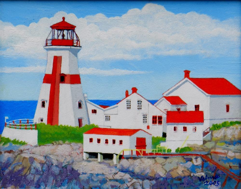 """Head Harbor Light"" original fine art by Velma Davies"