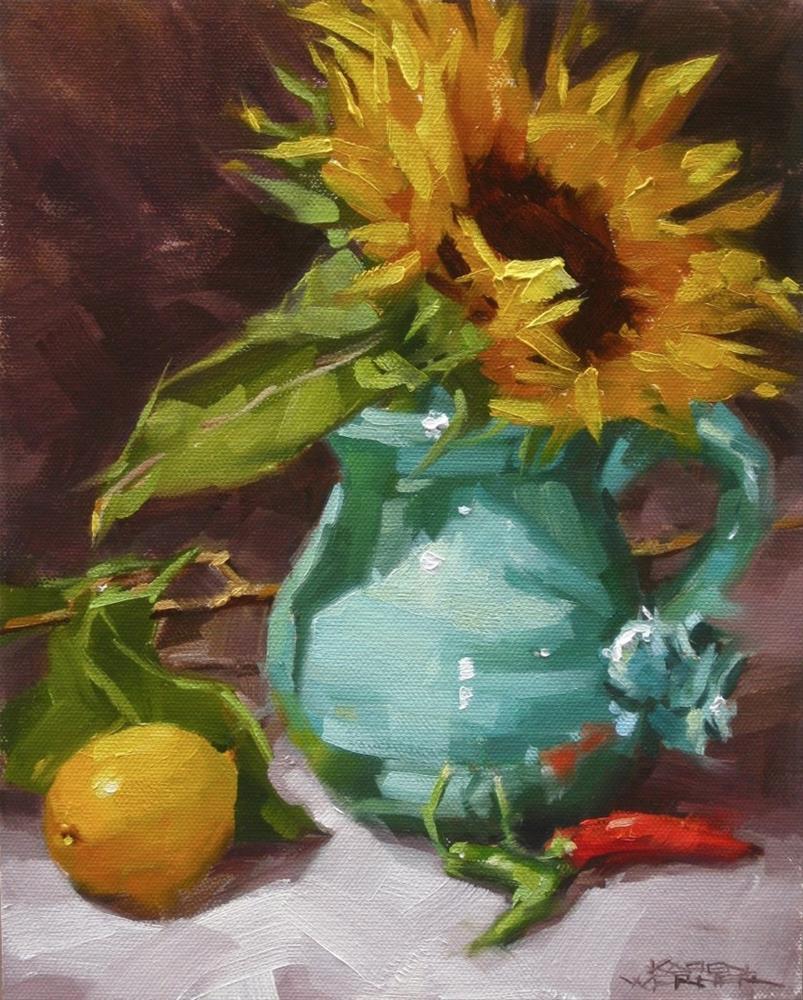 """""""Sunflower In Turquoise"""" original fine art by Karen Werner"""
