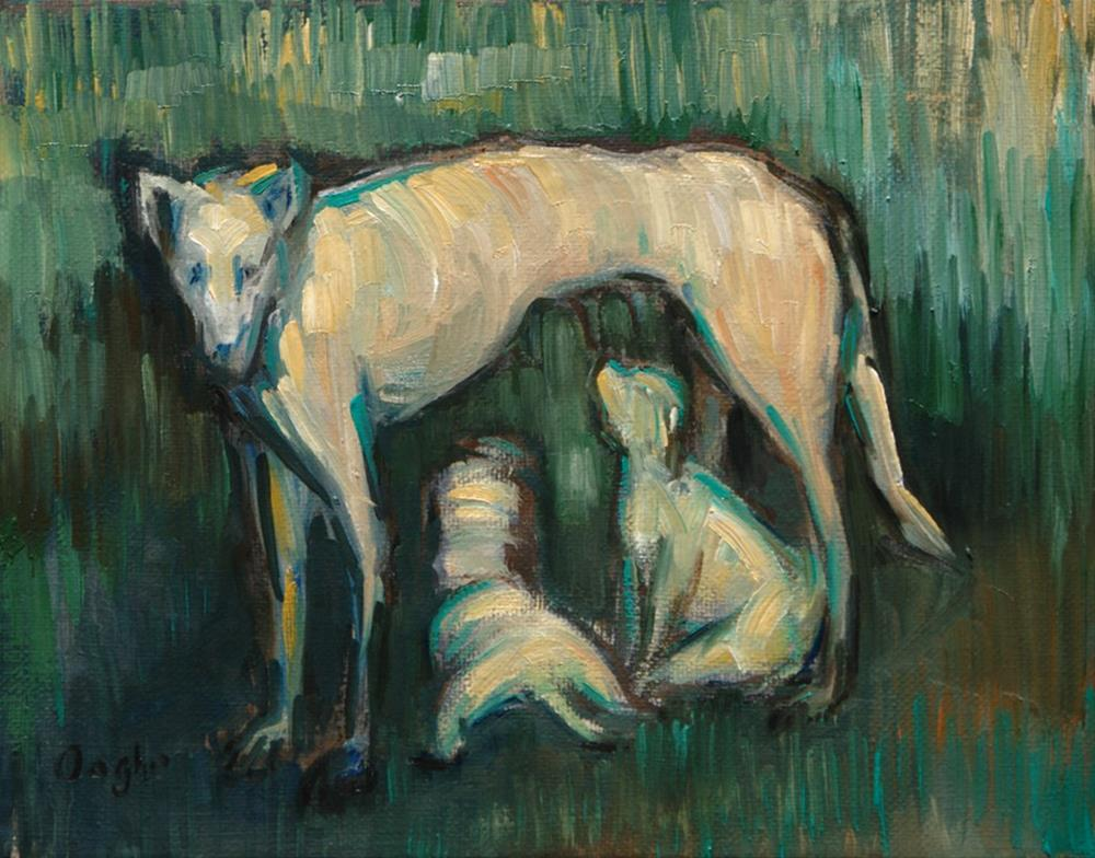 """White Dog"" original fine art by Angela Ooghe"