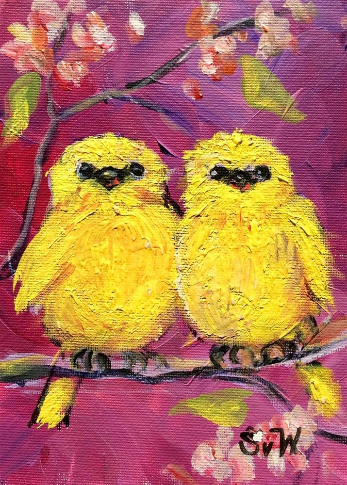 """Two love birds painting"" original fine art by Sonia von Walter"