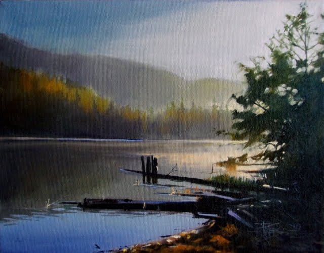 """Sunrise over Clear Lake oil landscape painting, White Pass, Washington State"" original fine art by Robin Weiss"