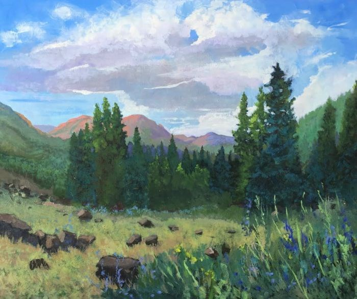 """Impressionist  Colorado Landscape Art Painting RED MOUNTAINS GLOWING by Colorado Artist Susan Fowl"" original fine art by Susan Fowler"