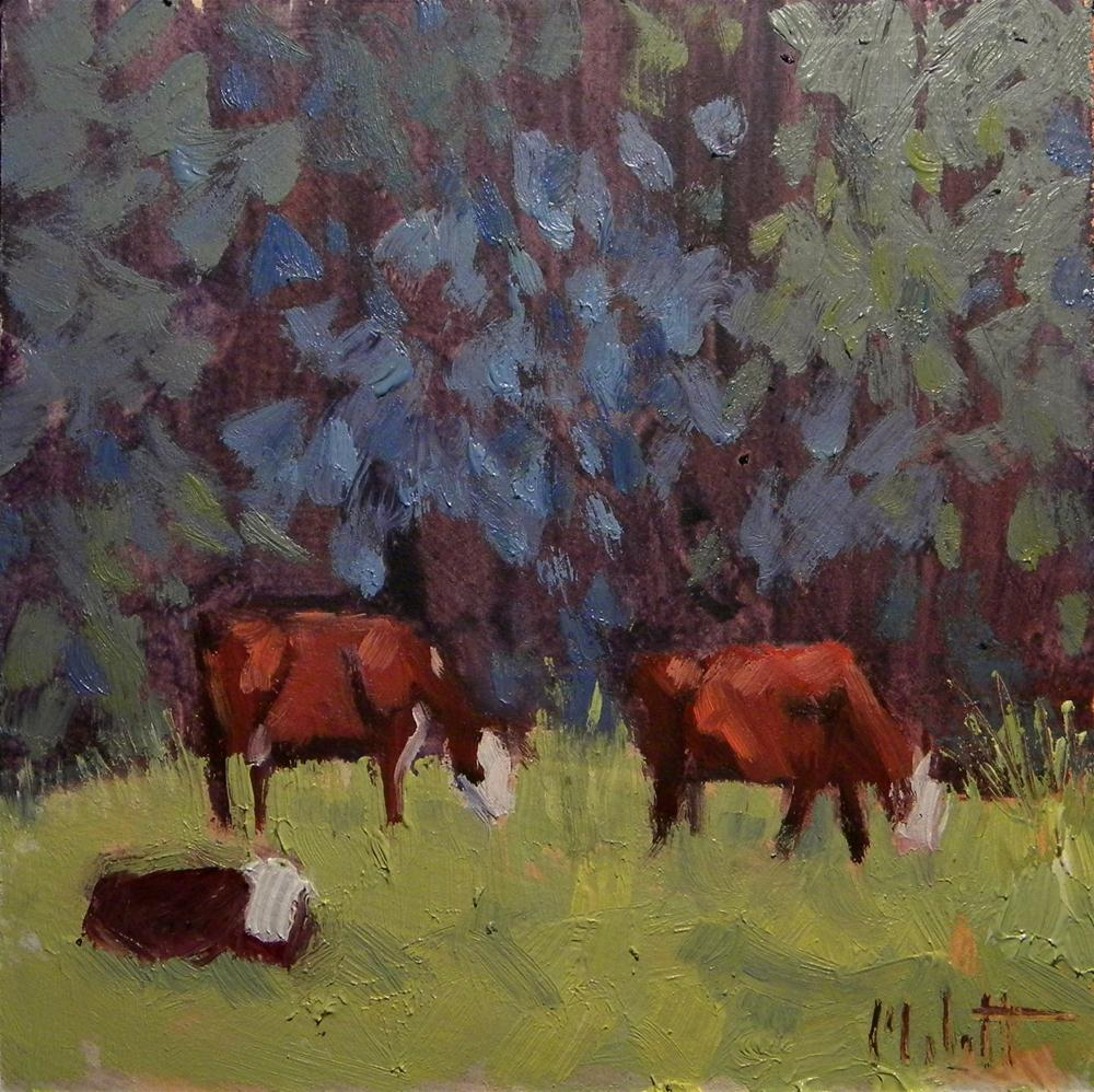 """Hereford Cattle Calf Cows Art Landscape Daily Oil Painting"" original fine art by Heidi Malott"
