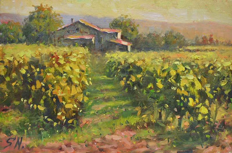 """Sunrise – Vineyard, Aix en Provence"" original fine art by Nick Sarazan"