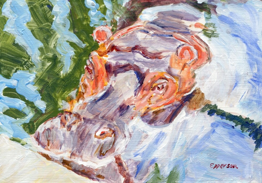 """Hippo"" original fine art by Stanley Epperson"