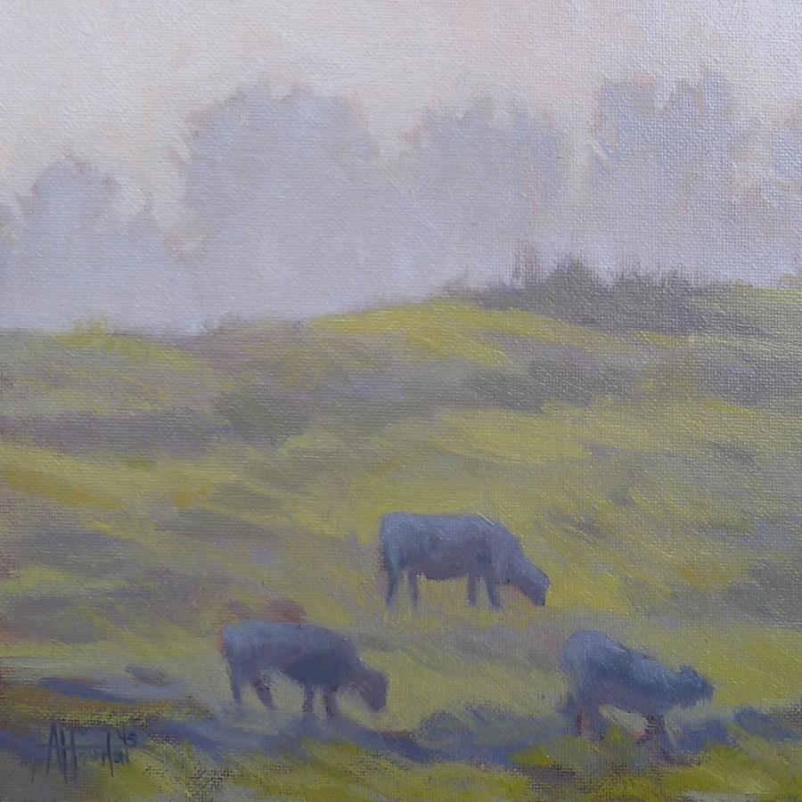"""""""Grazing in the Mist"""" original fine art by Adam Houston"""