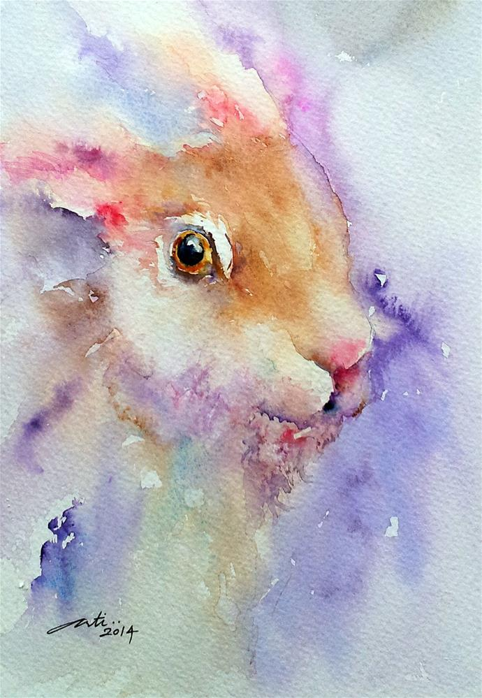 """Purple Glow Hare Portrait"" original fine art by Arti Chauhan"