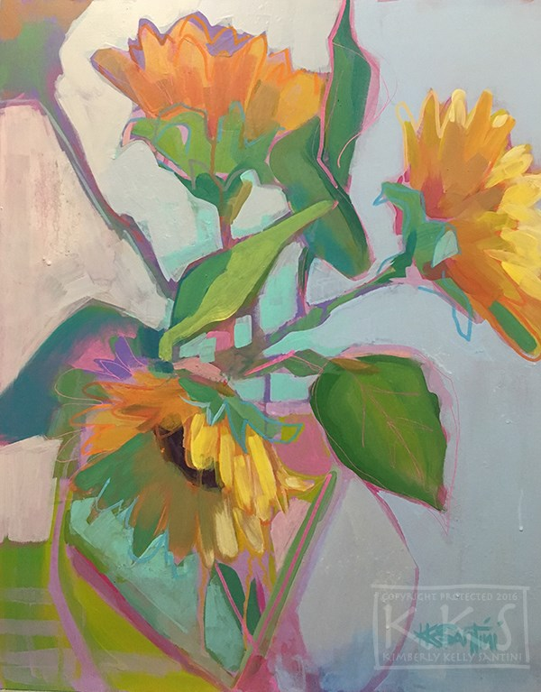 """Sunflowers"" original fine art by Kimberly Santini"