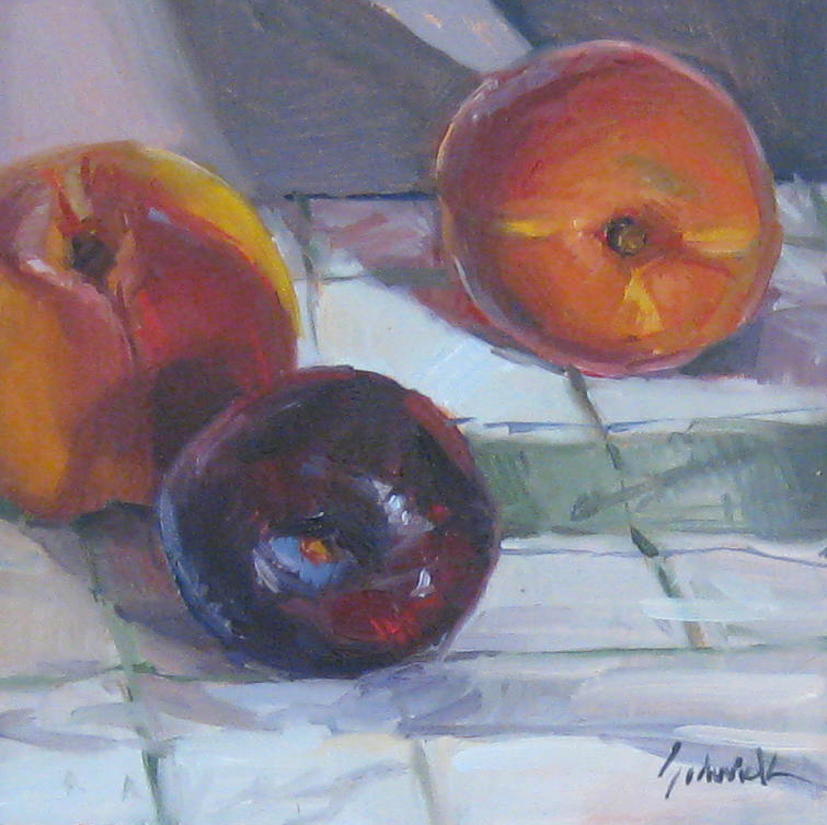 """Peaches and Plum on Plaid"" original fine art by Sarah Sedwick"