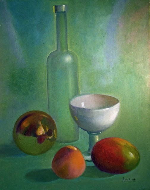 """""""Still Life Oil Painting,Peach, Wine Bottle, Life is Just Peachy by International Abstract Expressi"""" original fine art by Arrachme Art"""