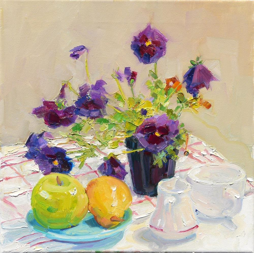 """Table Setting,still life,oil painting,12x12,price$295"" original fine art by Joy Olney"