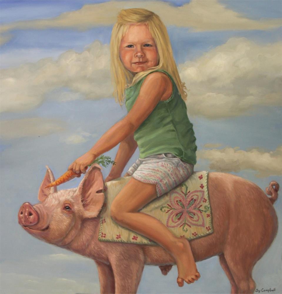 """Mia on a Pig"" original fine art by Joy Campbell"