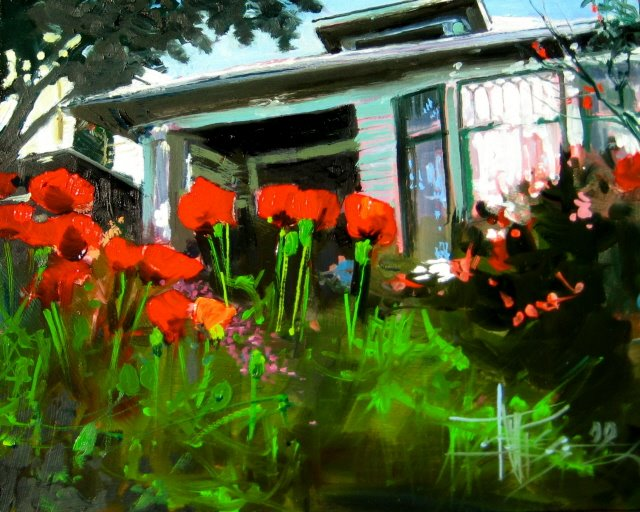 """Queen Anne Poppies   oil on panel"" original fine art by Robin Weiss"
