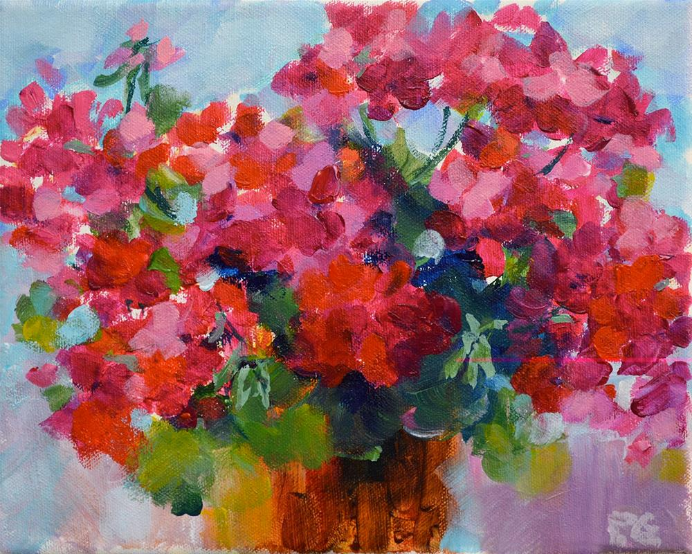 """Red Riot Geraniums"" original fine art by Pamela Gatens"