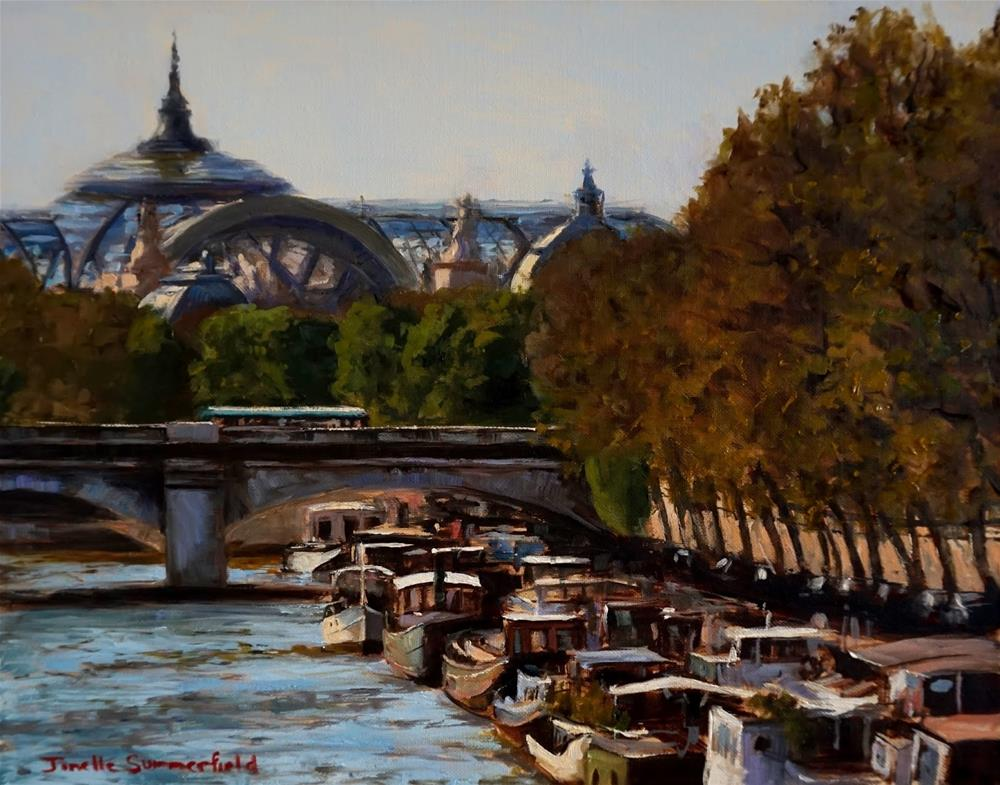 """Boats on the Seine"" original fine art by Jonelle Summerfield"