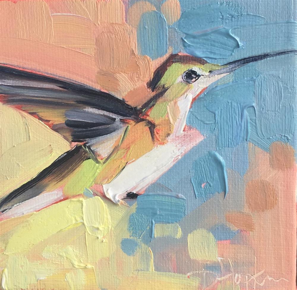 """Humming"" original fine art by Denise Hopkins"