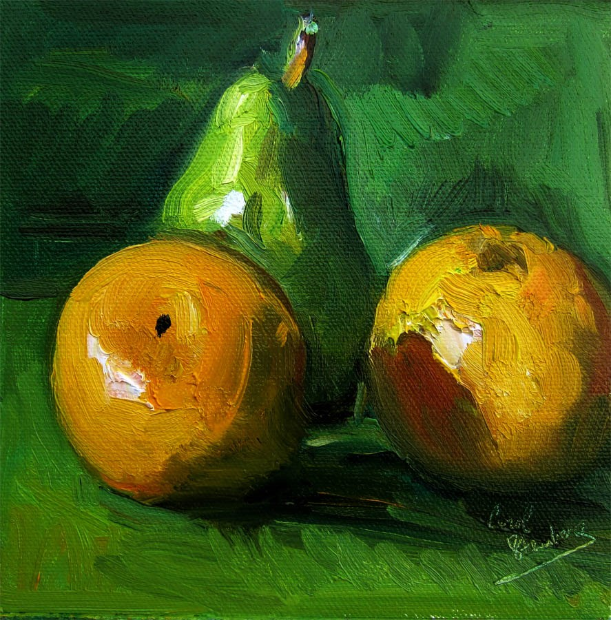 """Cocktail Grapefruits and Pear"" original fine art by Carol Steinberg"