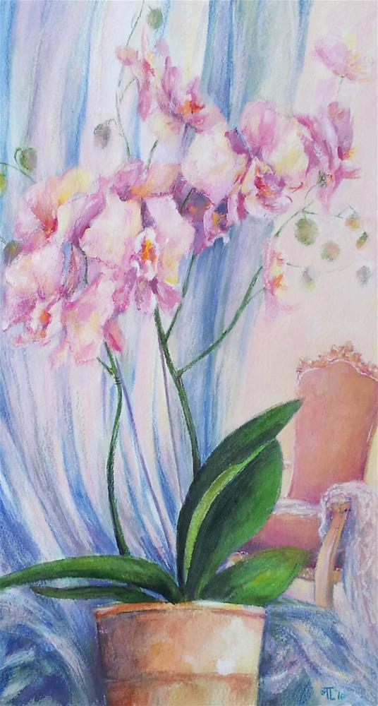 """Orchids and Rococo chair"" original fine art by Olga Touboltseva-Lefort"