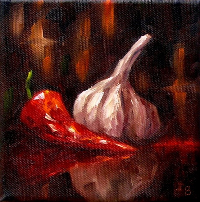 """Pepper & Garlic"" original fine art by Irina Beskina"