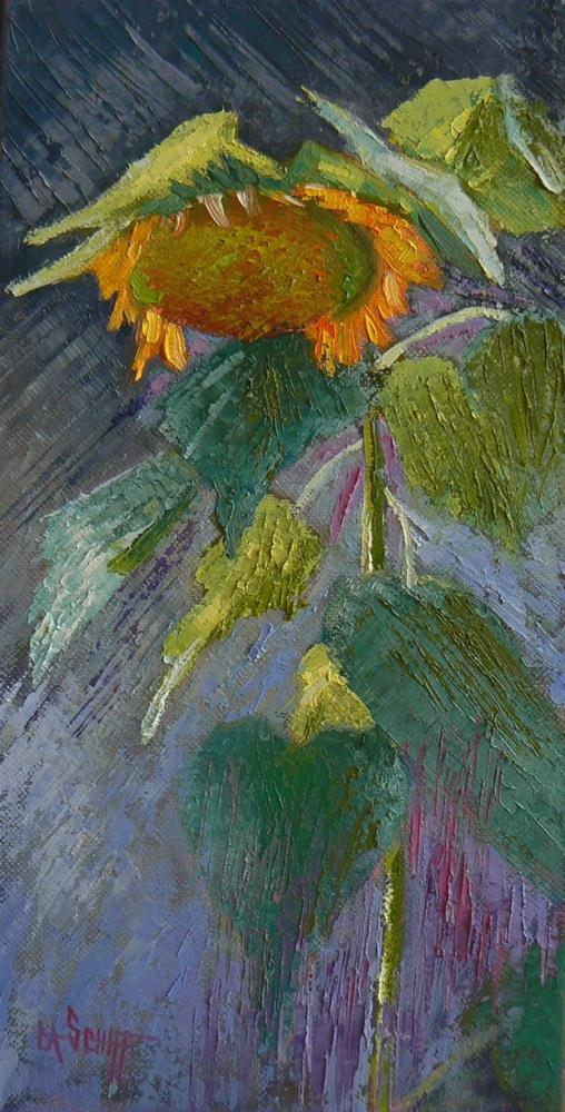 """Daily Painting, Sunflower Painting, 6x12"" original fine art by Carol Schiff"