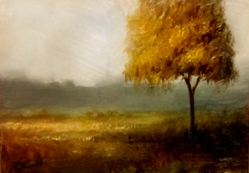 """Cloudy Sky and Golden Tree"" original fine art by Bob Kimball"
