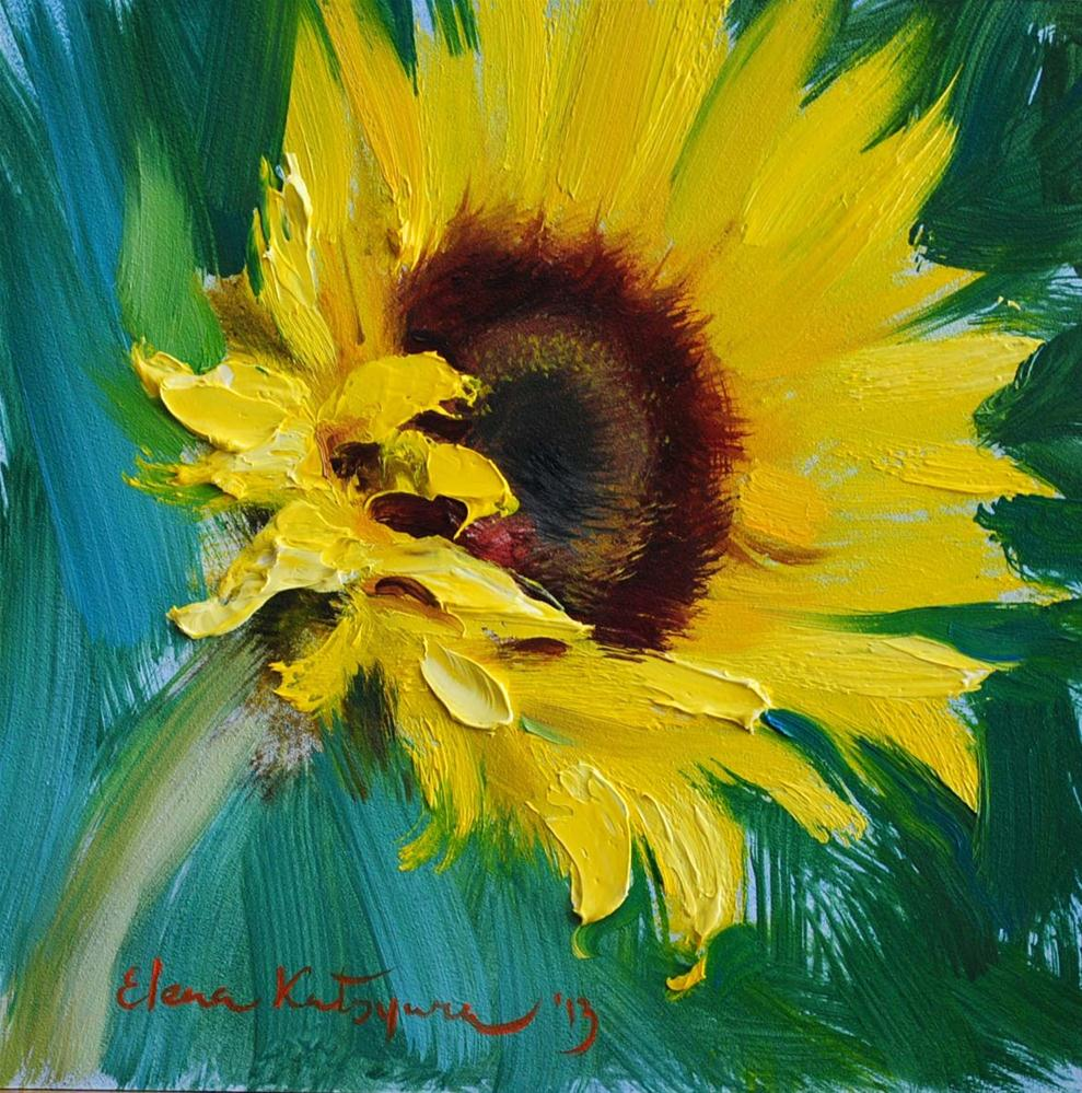"""Sunflower on Green"" original fine art by Elena Katsyura"