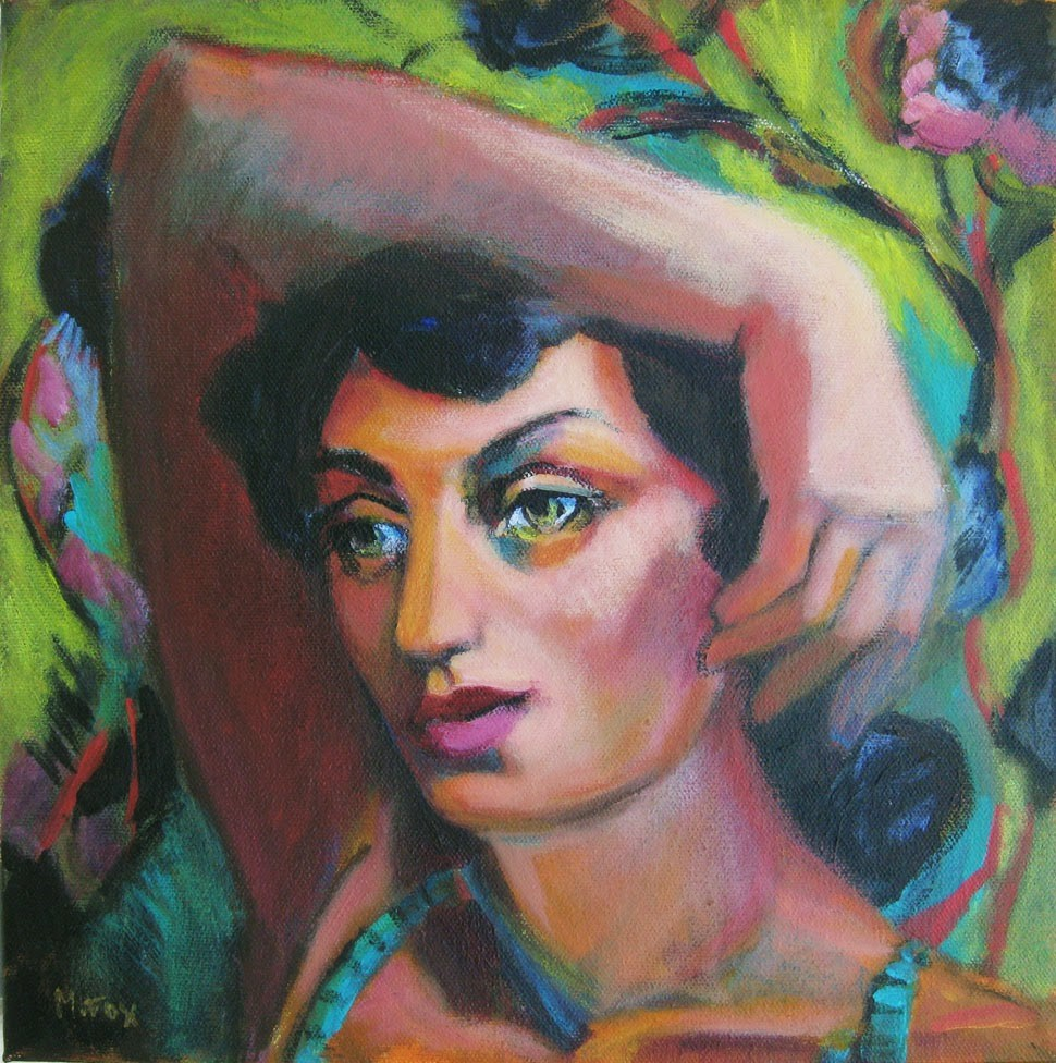 """Figurative painting of woman, female figuration, contemporary figure painter, woman's face"" original fine art by Marie Fox"