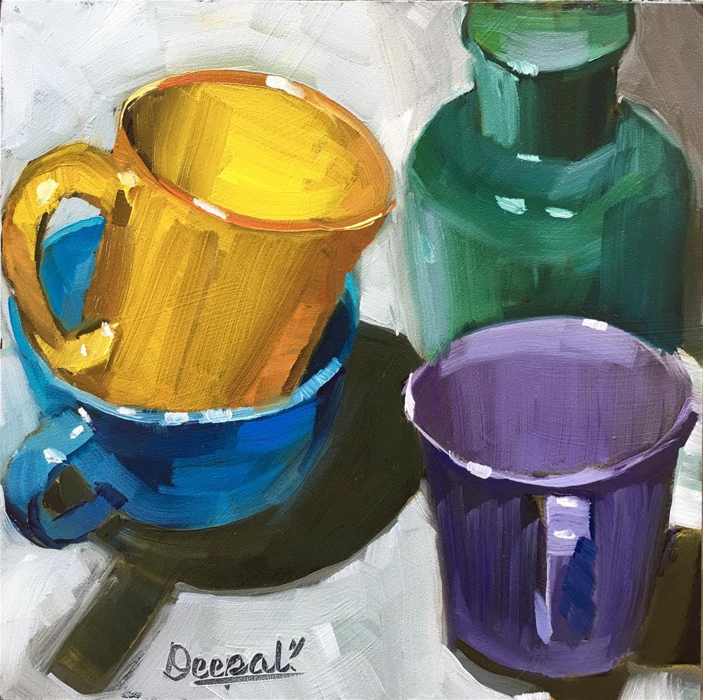 """Stacked cups"" original fine art by Dipali Rabadiya"