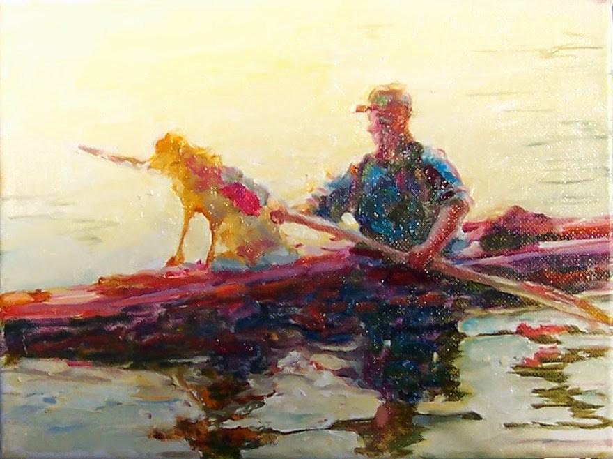 """Doggy Kayak Ride,portrait,oil on canvas,9x12,price$450"" original fine art by Joy Olney"